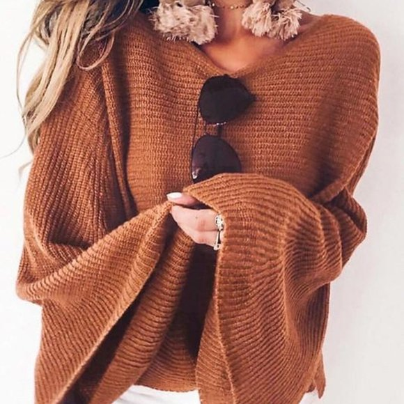 Caramel Bell Sleeves Knit Sweater